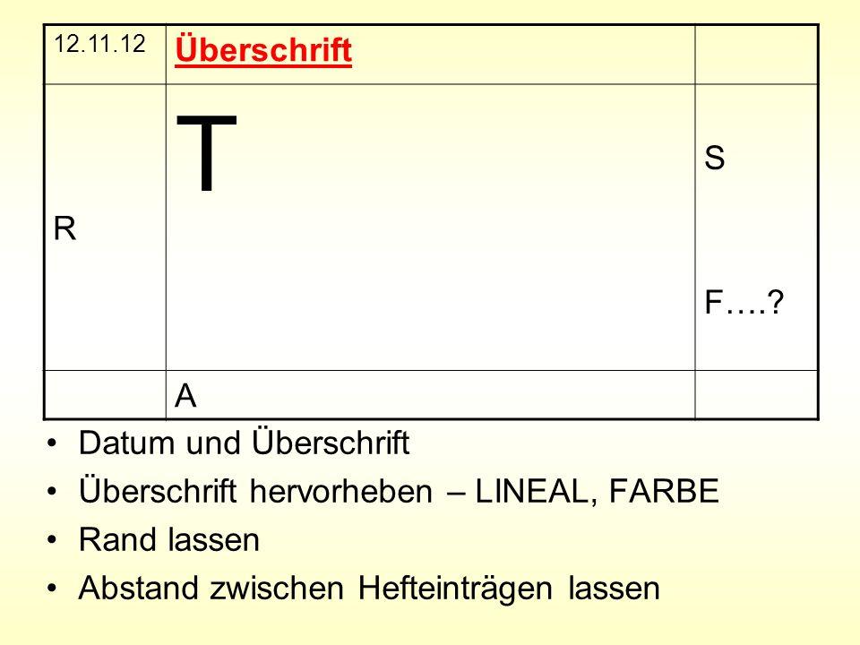 T Überschrift R S F…. A Datum und Überschrift