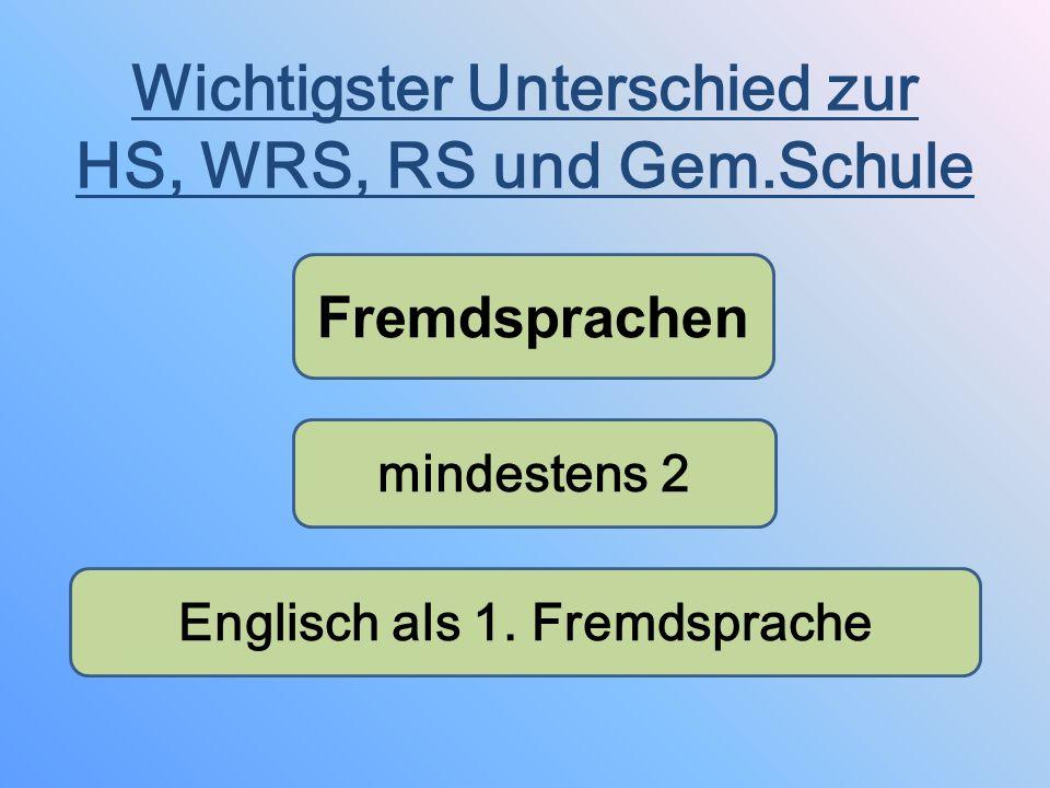 Wichtigster Unterschied zur HS, WRS, RS und Gem.Schule