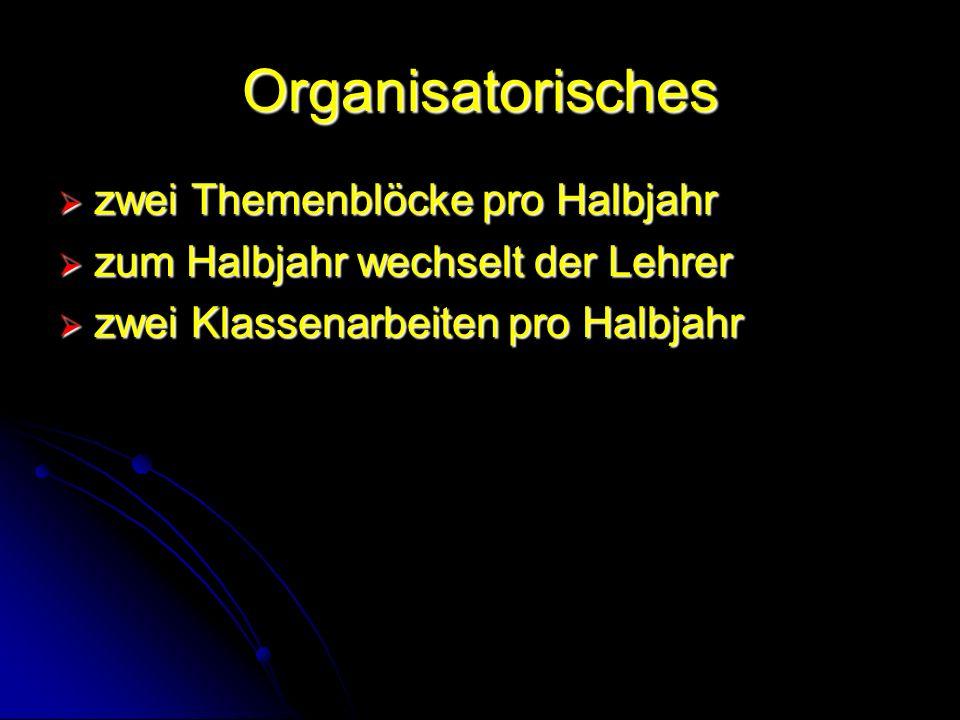 Organisatorisches zwei Themenblöcke pro Halbjahr