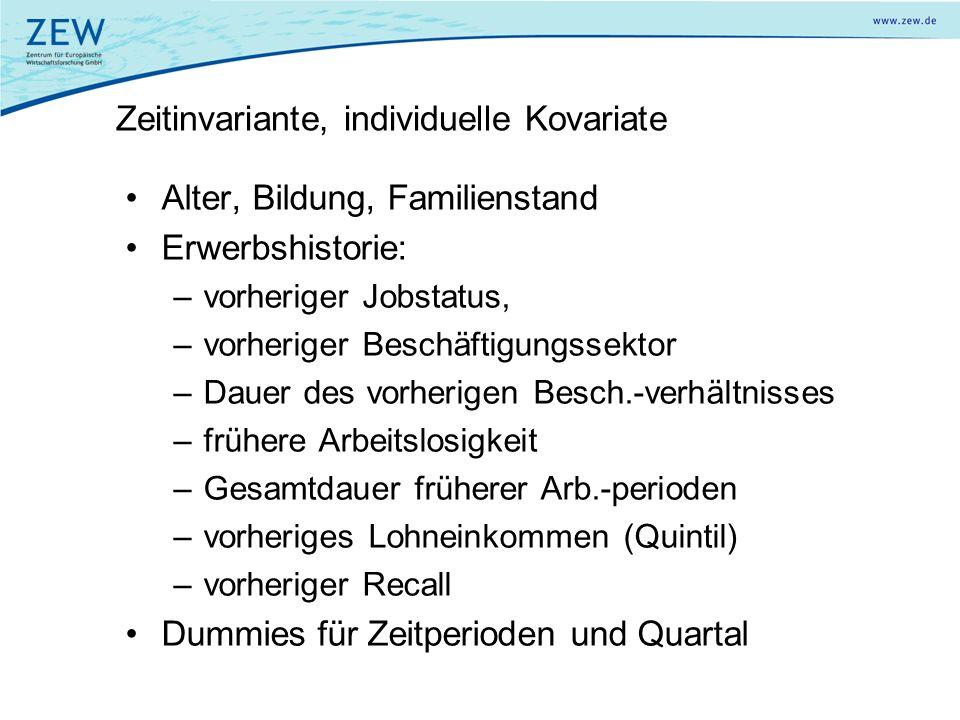 Zeitinvariante, individuelle Kovariate