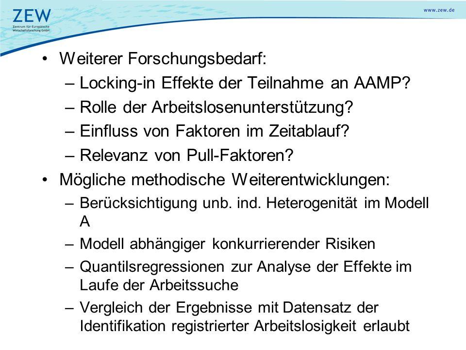 Weiterer Forschungsbedarf: Locking-in Effekte der Teilnahme an AAMP