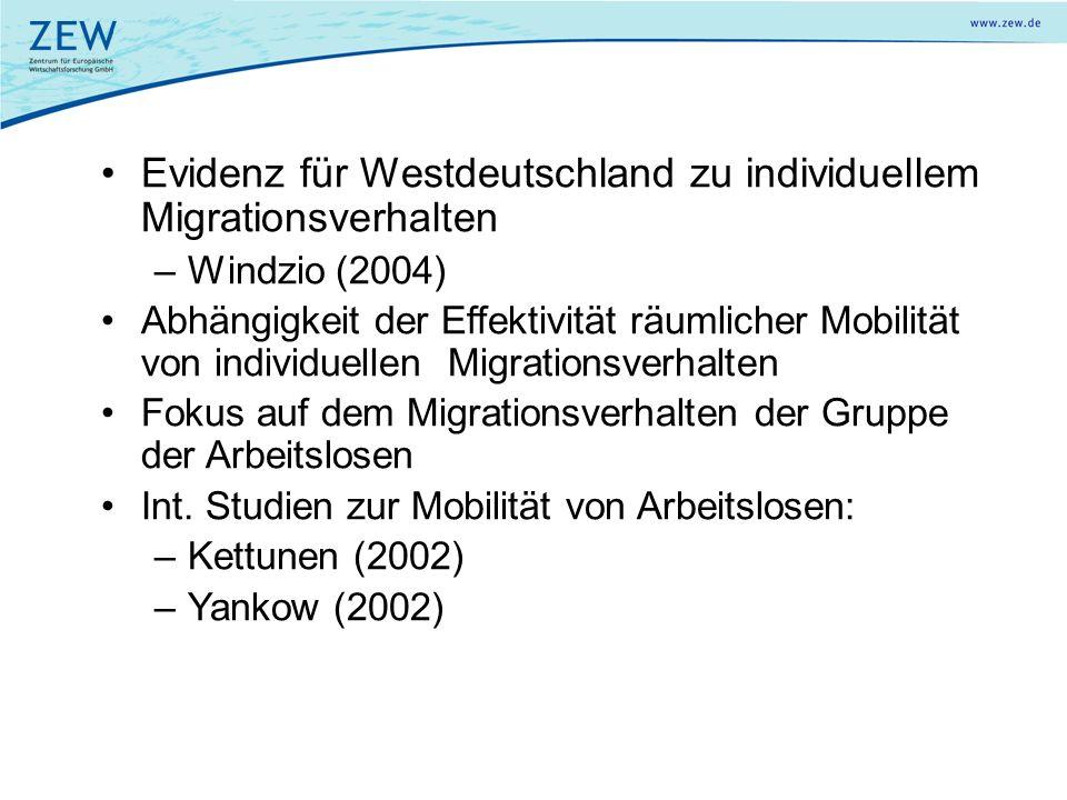 Evidenz für Westdeutschland zu individuellem Migrationsverhalten