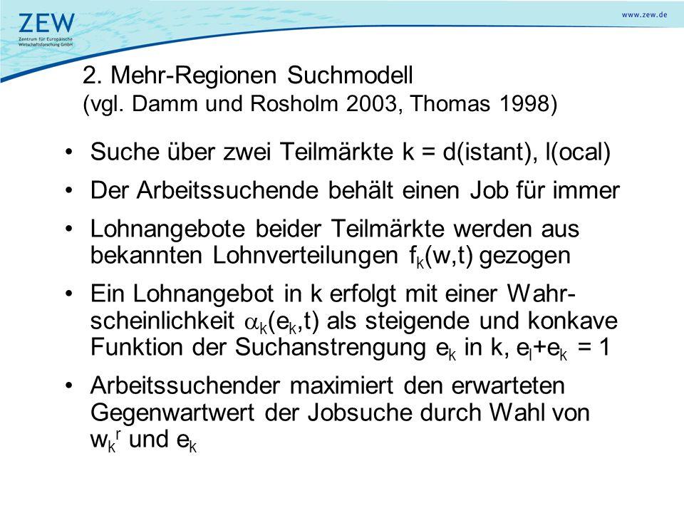 2. Mehr-Regionen Suchmodell (vgl. Damm und Rosholm 2003, Thomas 1998)