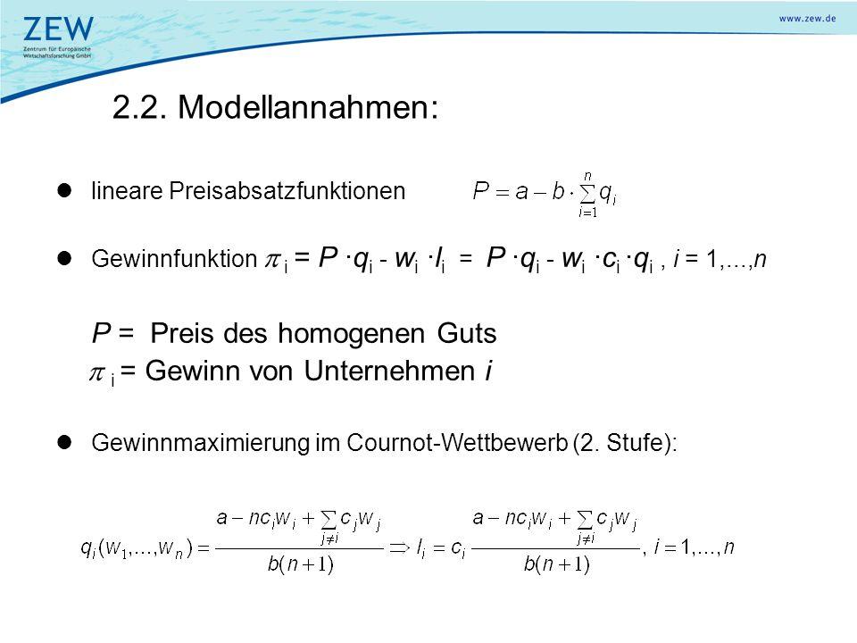 2.2. Modellannahmen: P = Preis des homogenen Guts