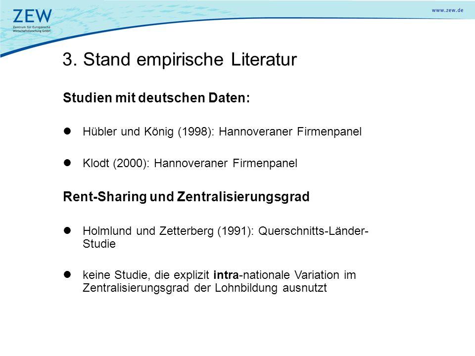 3. Stand empirische Literatur