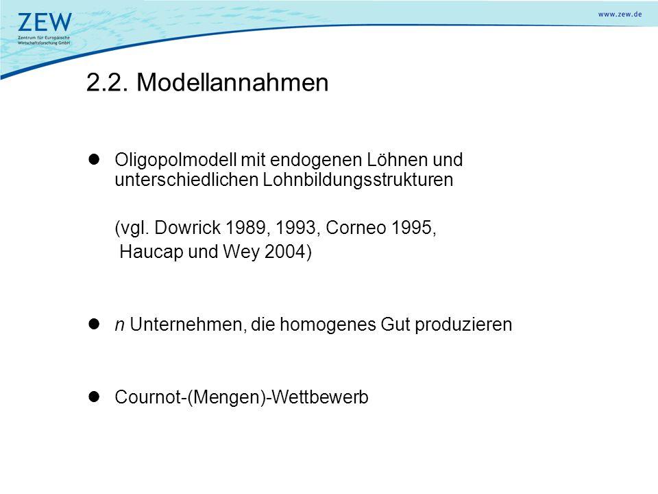 2.2. Modellannahmen Oligopolmodell mit endogenen Löhnen und unterschiedlichen Lohnbildungsstrukturen.