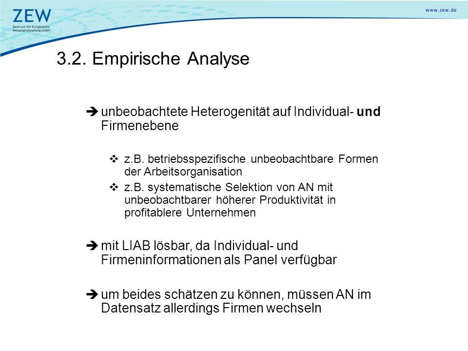3.2. Empirische Analyse unbeobachtete Heterogenität auf Individual- und Firmenebene.