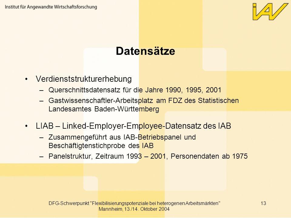 Datensätze Verdienststrukturerhebung