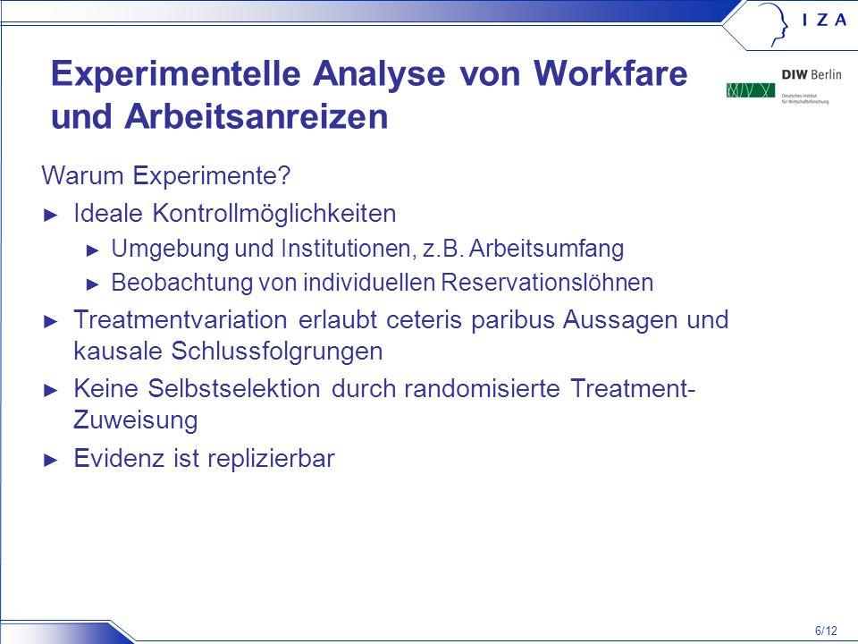 Experimentelle Analyse von Workfare und Arbeitsanreizen