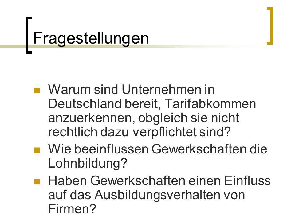 Fragestellungen Warum sind Unternehmen in Deutschland bereit, Tarifabkommen anzuerkennen, obgleich sie nicht rechtlich dazu verpflichtet sind