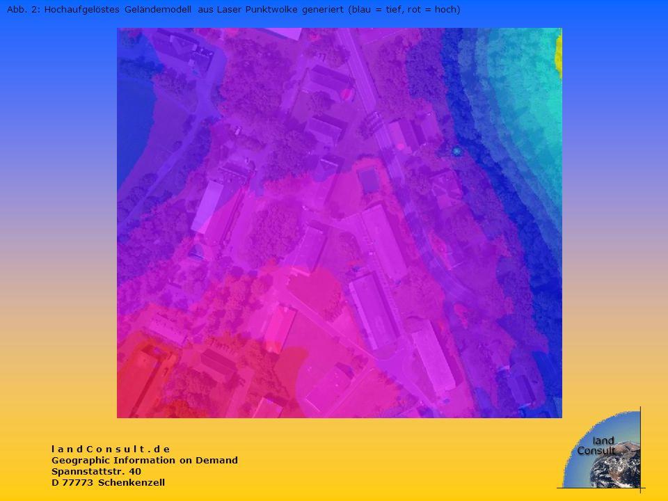 Abb. 2: Hochaufgelöstes Geländemodell aus Laser Punktwolke generiert (blau = tief, rot = hoch)