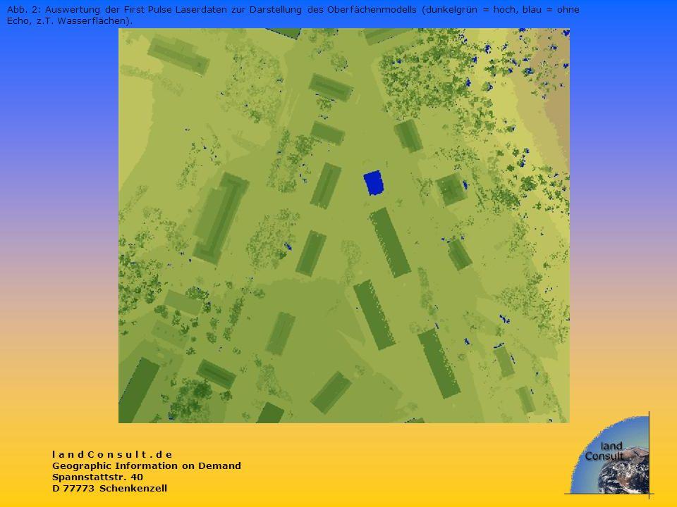 Abb. 2: Auswertung der First Pulse Laserdaten zur Darstellung des Oberfächenmodells (dunkelgrün = hoch, blau = ohne Echo, z.T. Wasserflächen).