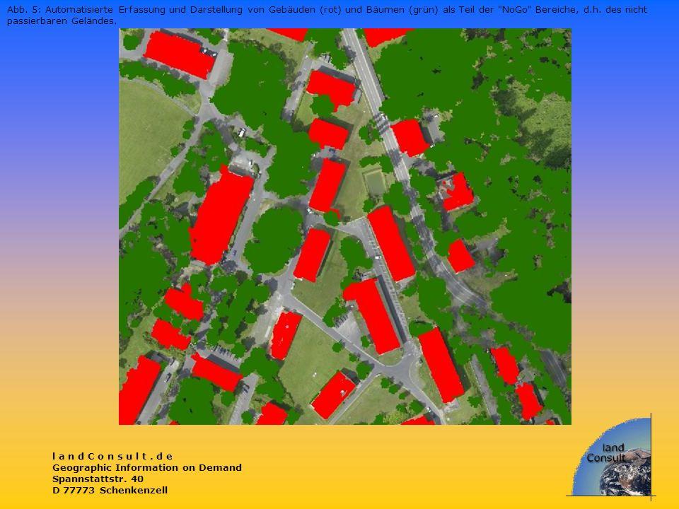 Abb. 5: Automatisierte Erfassung und Darstellung von Gebäuden (rot) und Bäumen (grün) als Teil der NoGo Bereiche, d.h. des nicht passierbaren Geländes.