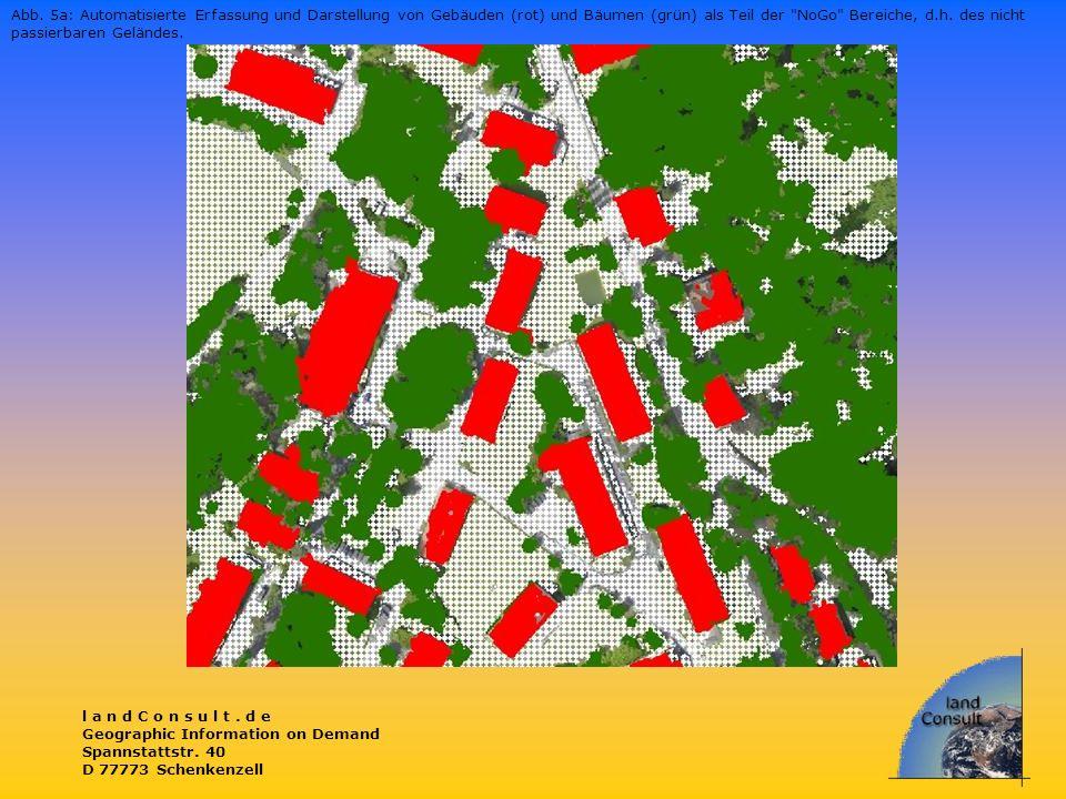 Abb. 5a: Automatisierte Erfassung und Darstellung von Gebäuden (rot) und Bäumen (grün) als Teil der NoGo Bereiche, d.h. des nicht passierbaren Geländes.
