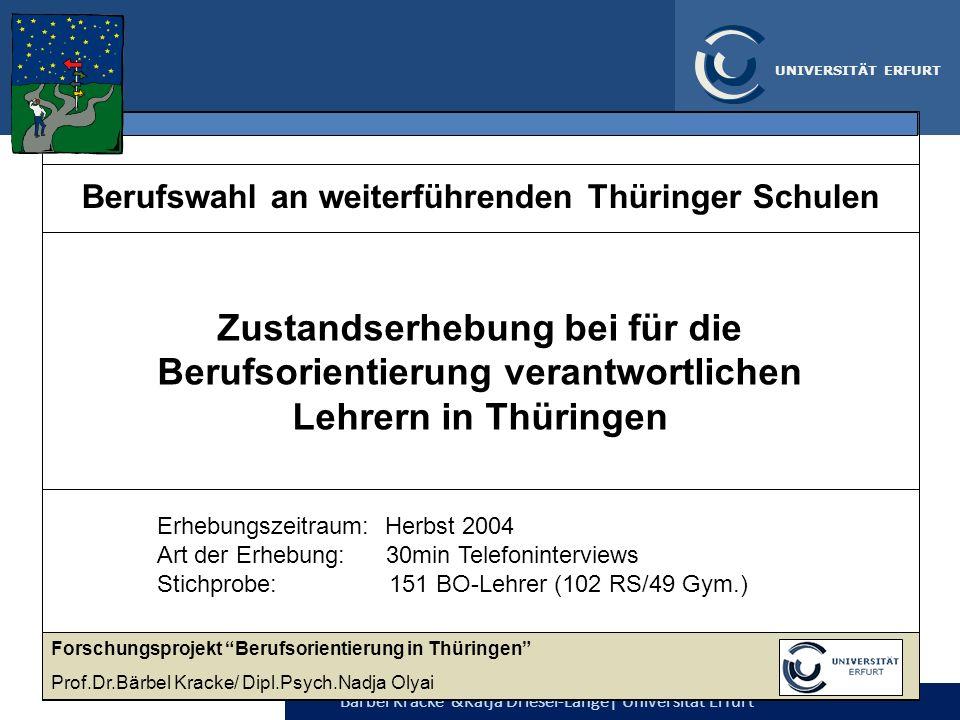 Berufswahl an weiterführenden Thüringer Schulen