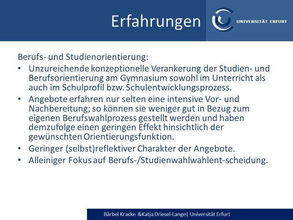 Erfahrungen Berufs- und Studienorientierung:
