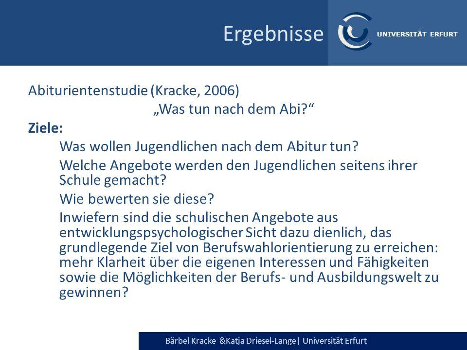 """Ergebnisse Abiturientenstudie (Kracke, 2006) """"Was tun nach dem Abi"""