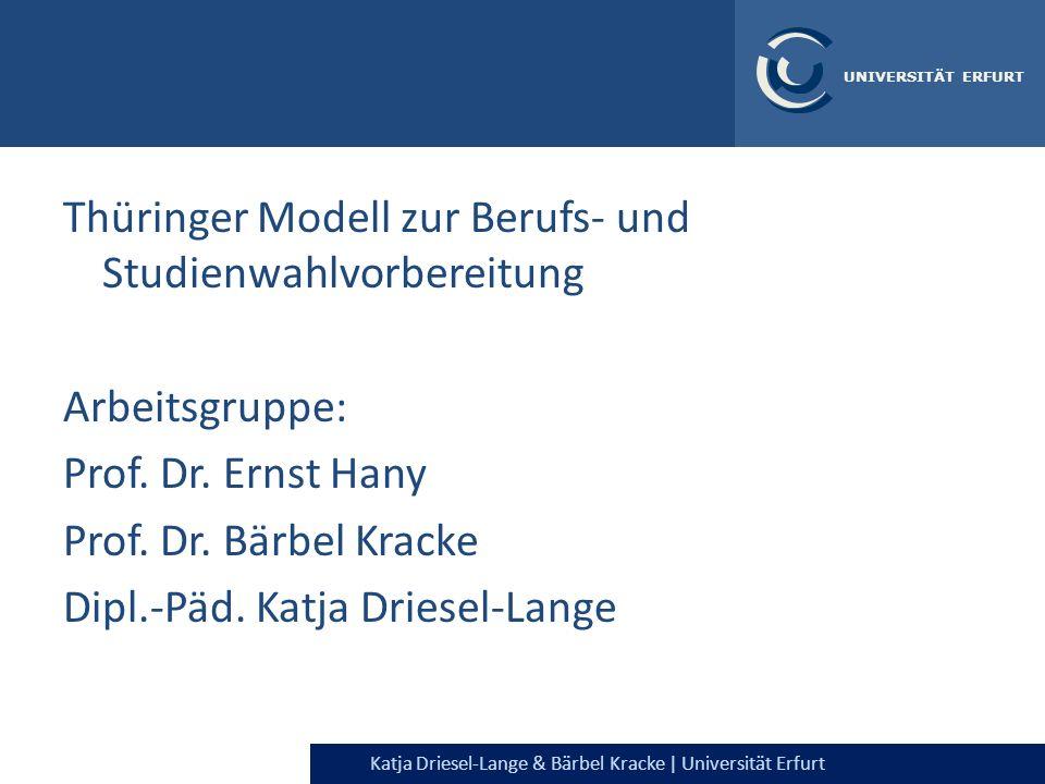 Thüringer Modell zur Berufs- und Studienwahlvorbereitung