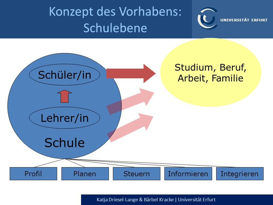 Konzept des Vorhabens: Schulebene