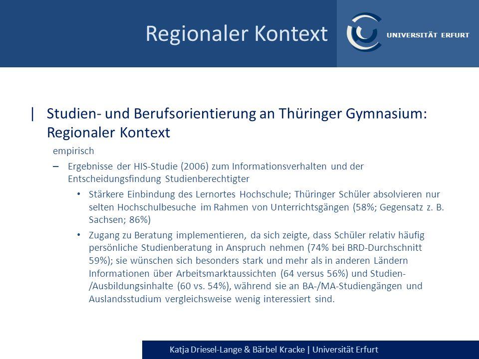 Regionaler Kontext Studien- und Berufsorientierung an Thüringer Gymnasium: Regionaler Kontext. empirisch.