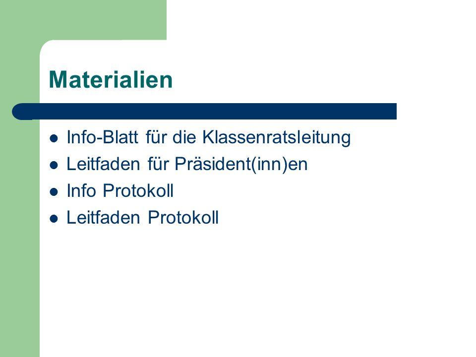 Materialien Info-Blatt für die Klassenratsleitung