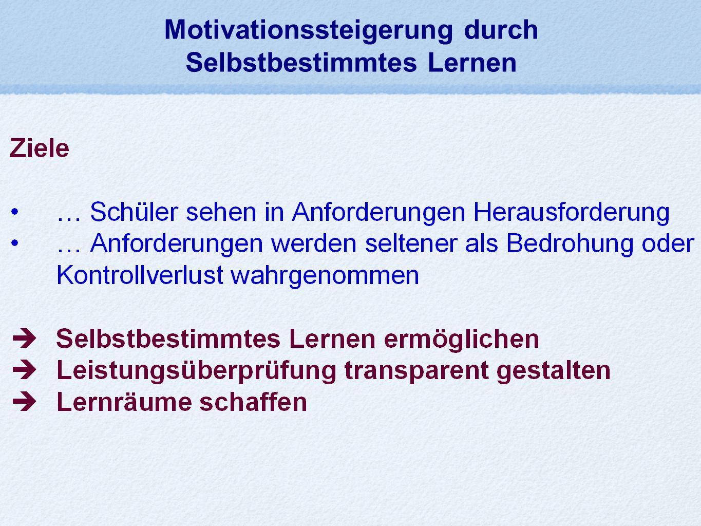 Motivationssteigerung durch Selbstbestimmtes Lernen