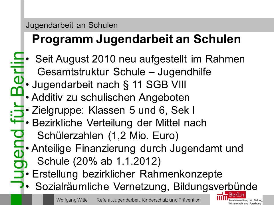 Jugend für Berlin Programm Jugendarbeit an Schulen