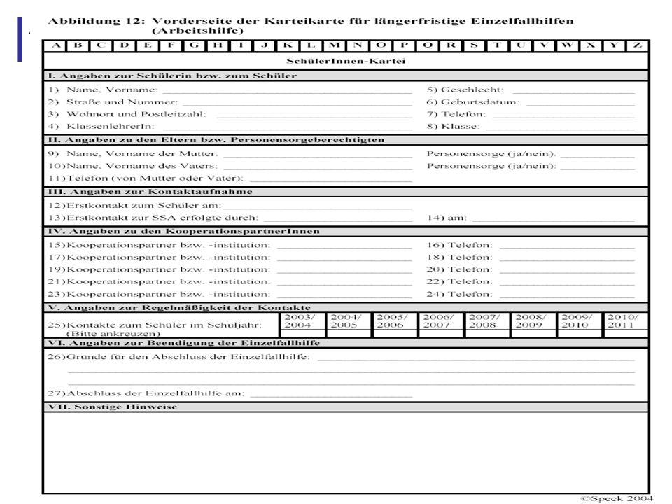 Abbildung 22: Vorderseite Karteikarte für längerfristige Einzelfallhilfen