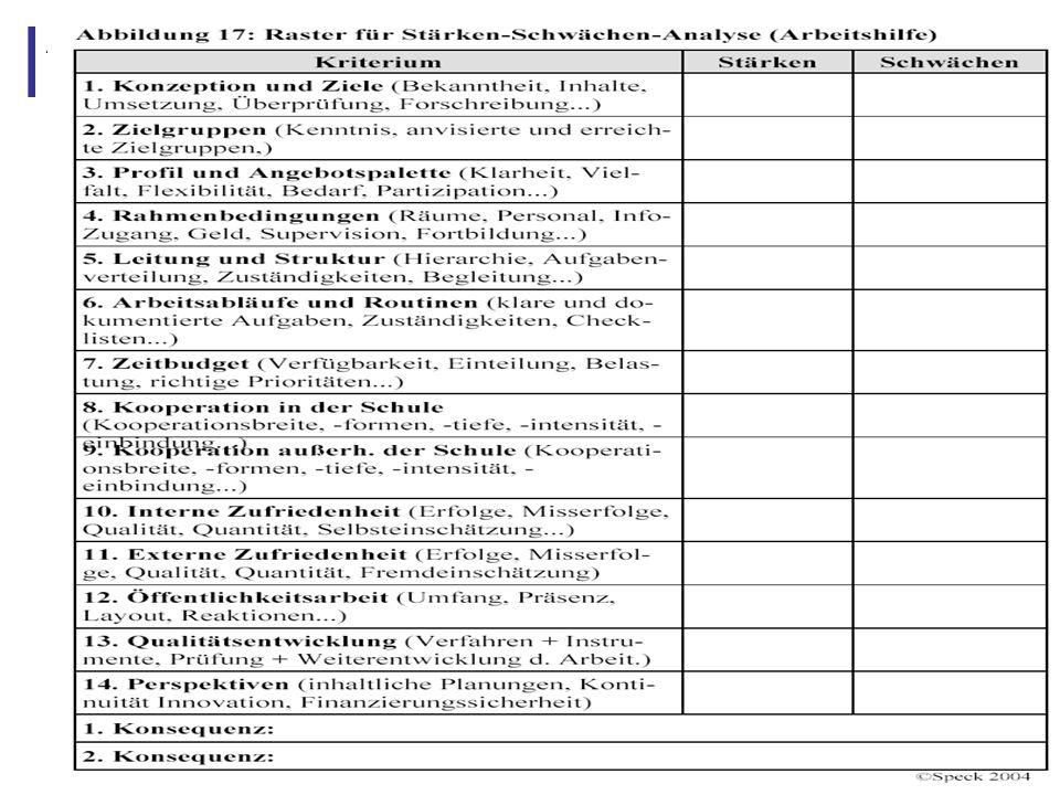 Abbildung 26: Raster für Stärken-Schwächen-Analyse