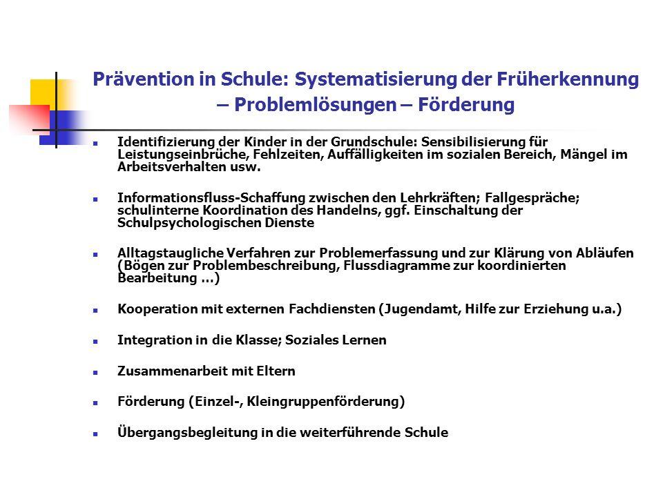 Prävention in Schule: Systematisierung der Früherkennung – Problemlösungen – Förderung