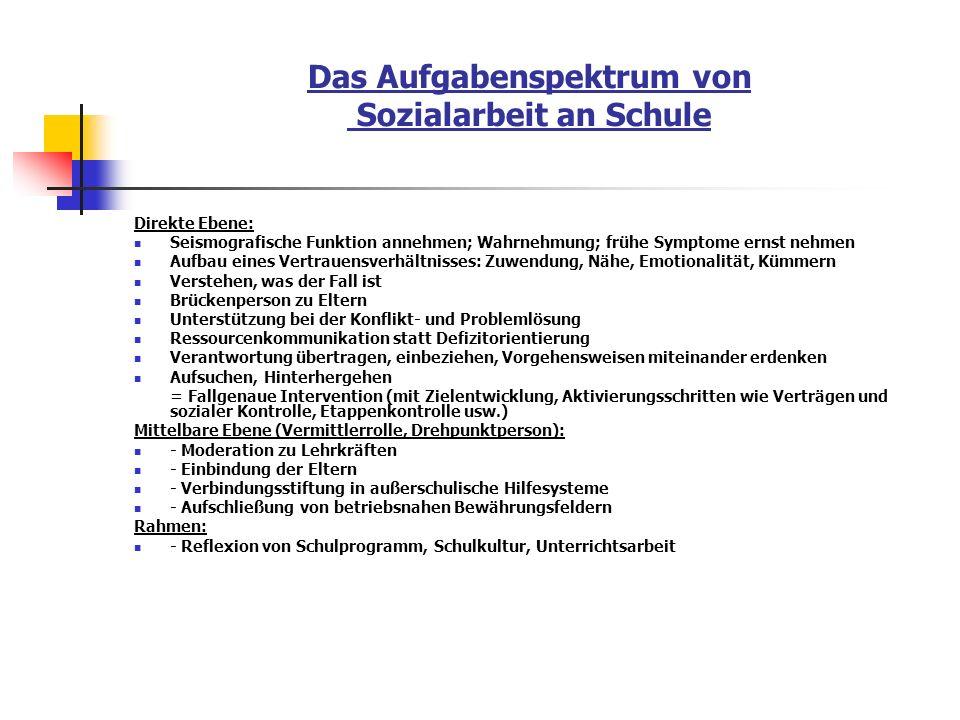 Das Aufgabenspektrum von Sozialarbeit an Schule