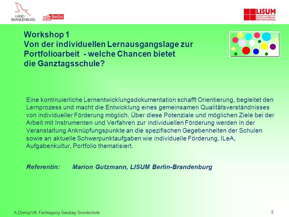 Workshop 1. Von der individuellen Lernausgangslage zur