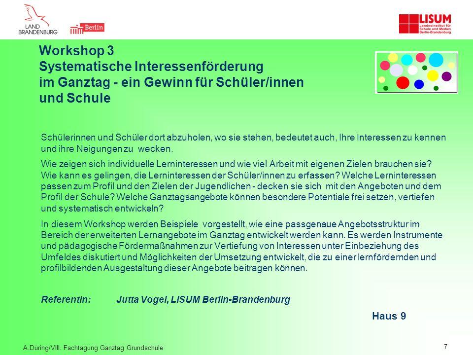 Workshop 3. Systematische Interessenförderung