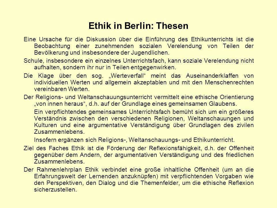 Ethik in Berlin: Thesen
