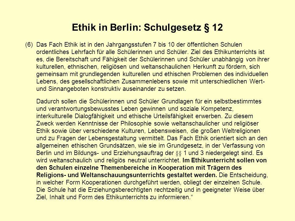 Ethik in Berlin: Schulgesetz § 12