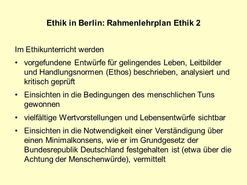 Ethik in Berlin: Rahmenlehrplan Ethik 2
