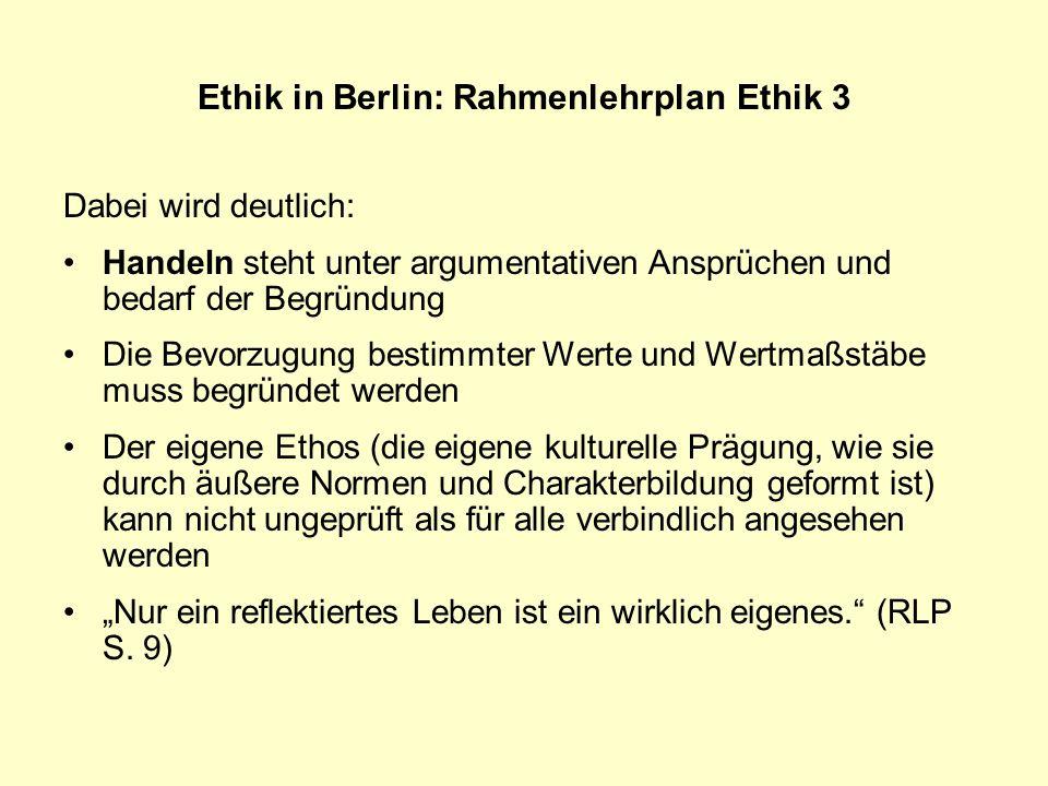 Ethik in Berlin: Rahmenlehrplan Ethik 3