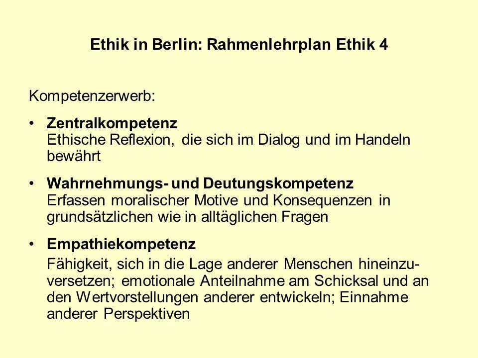 Ethik in Berlin: Rahmenlehrplan Ethik 4