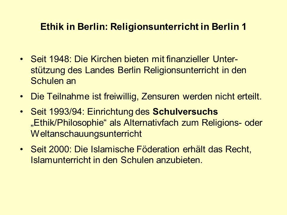Ethik in Berlin: Religionsunterricht in Berlin 1
