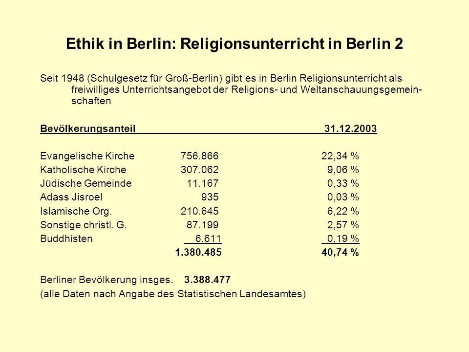 Ethik in Berlin: Religionsunterricht in Berlin 2