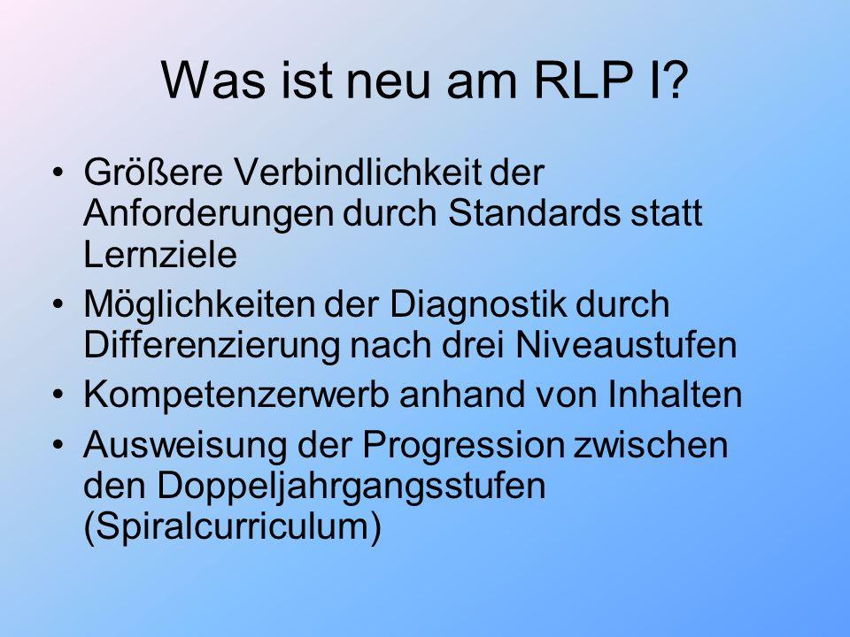 Was ist neu am RLP I Größere Verbindlichkeit der Anforderungen durch Standards statt Lernziele.