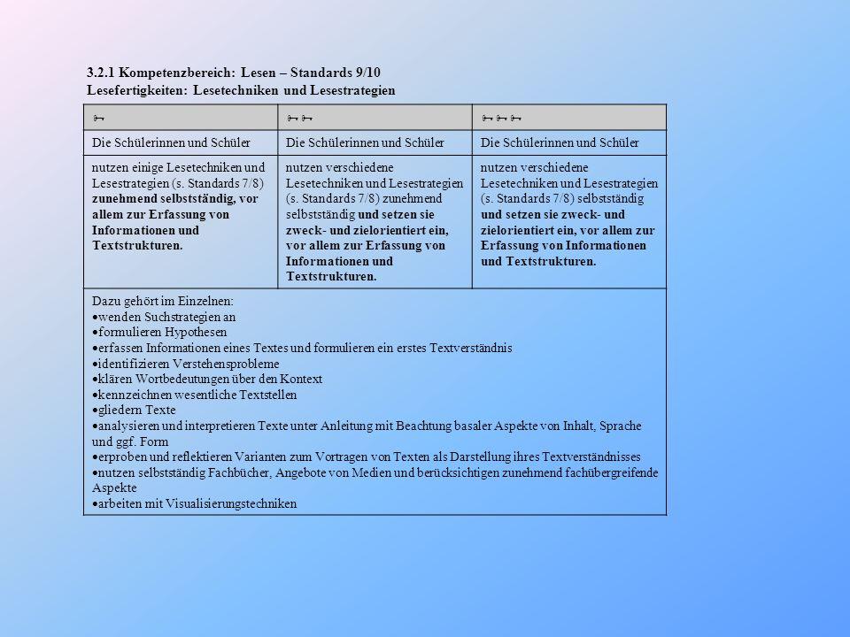 3.2.1 Kompetenzbereich: Lesen – Standards 9/10