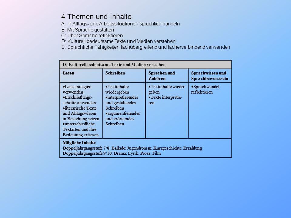 4 Themen und Inhalte A: In Alltags- und Arbeitssituationen sprachlich handeln. B: Mit Sprache gestalten.