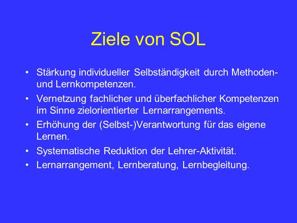 Ziele von SOLStärkung individueller Selbständigkeit durch Methoden- und Lernkompetenzen.