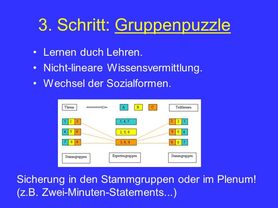 3. Schritt: Gruppenpuzzle