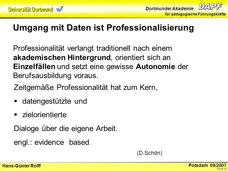 Umgang mit Daten ist Professionalisierung