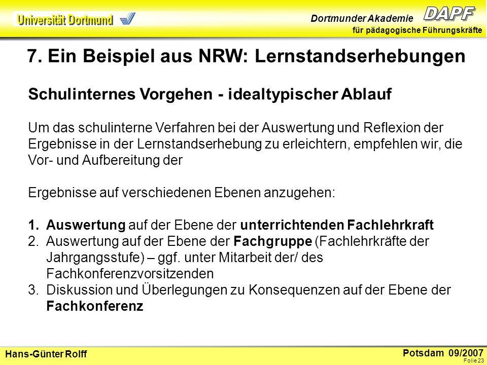 7. Ein Beispiel aus NRW: Lernstandserhebungen