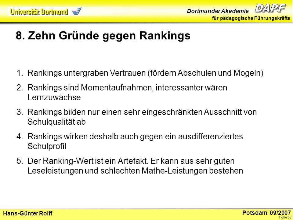 8. Zehn Gründe gegen Rankings