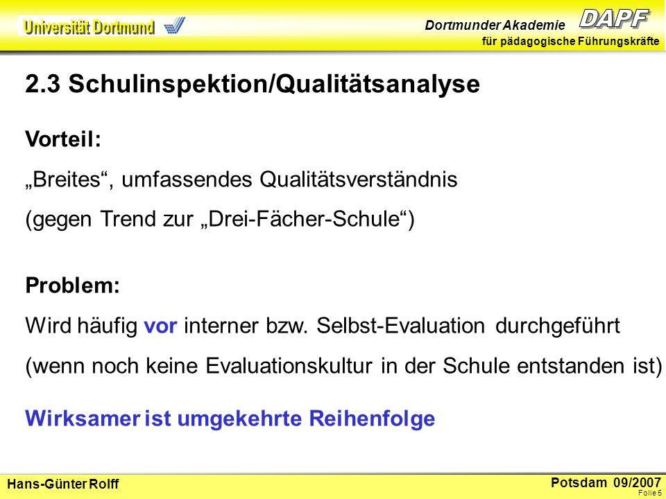 2.3 Schulinspektion/Qualitätsanalyse