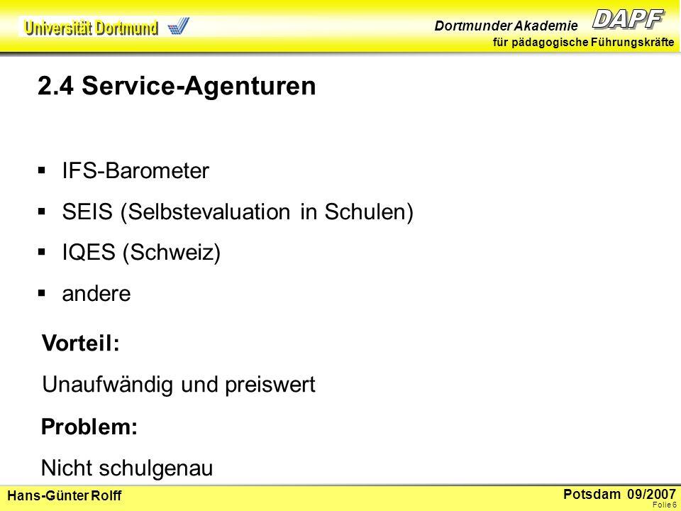 2.4 Service-Agenturen IFS-Barometer SEIS (Selbstevaluation in Schulen)